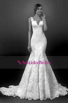 2016 correas vestidos de novia V profundo Volver sirena con apliques