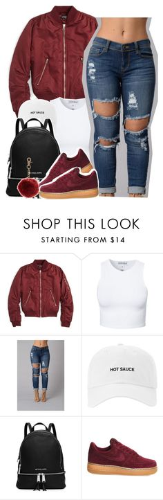 """""""Cocaine for breakfast"""" by queen-tiller ❤ liked on Polyvore featuring Topshop, Estradeur, MICHAEL Michael Kors, NIKE and New Look"""