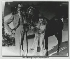 "Clara Bow with two racehorses: Gary Cooper and ""Antez."""
