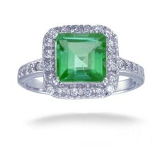 7MM Princess Cut Green Topaz Ring In Sterling Silver 2 CT (Available In Sizes 5 - 9) -