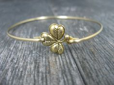 Gold Shamrock Bangle Bracelet Irish Jewelry Shamrock by BaubleVine
