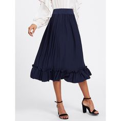 SheIn(sheinside) Box Pleated Ruffle Skirt ($14) ❤ liked on Polyvore featuring skirts, navy, long summer skirts, tiered maxi skirts, long navy skirt, navy blue long skirt and long maxi skirts