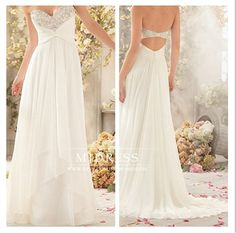 Sweetheart chiffon wedding dress bridal dress white / ivory beach wedding dress formal dress backless prom dresses bridal gown on Etsy, $155.84 CAD