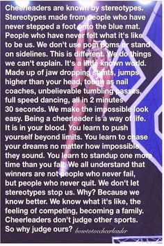 #Cheerleading #quotes #cheer #cheerleading Cheerleading quotes Cheerleading quotesbrp classfirstlettercheerquotes and Quality Pictures on Our Pinterest PanelpIf you use this pin where particular size is required the width and height of the pin will also be very important to you Therefore we wanted to give you information about this The width of this pin is 464brThe height of the pin is determined as 648 You can use the pin quite comfortably in places where this ratio is appropriate… Cheer Tryouts, Cheer Coaches, Cheer Stunts, Cheer Dance, Cheer Music, Youth Cheer, Cheer Athletics, Cheer Qoutes, Cheerleading Quotes