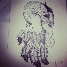 elephant dream catcher tattoo idea