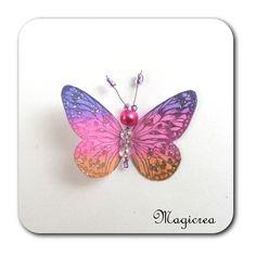 PAPILLON 5 CM VIOLET ROSE ET ORANGE - KESIA - Boutique www.magicreation.fr