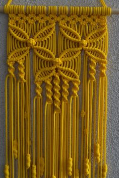 Wall panels handmade macram technique Material 100 polyester Color yellow Strap natural wood - pine Dimensions The length from the wooden plank to the bottom including the thread - 31 5 inches Width - 9 5 inches Macrame Wall Hanging Patterns, Macrame Patterns, Yellow Interior, Macrame Design, Macrame Projects, Natural Wood, Knots, Diy And Crafts, Weaving