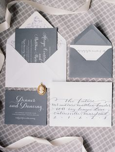 Gray #invitation set with white calligraphy Photography: Meghan Boyer Photography - meghanboyerweddings.com  Read More: http://www.stylemepretty.com/2014/09/01/classic-maryland-country-club-wedding/