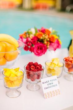 Trendy summer bridal shower ideas Fashionssories Smoothie Bar Taste Of Home 16 Fun Ideas For Bridal Shower Food Summer Party Games, Pool Party Games, Toddler Party Games, Smoothie Bar, Smoothies, Pamper Party, Spa Party, Beach Party, Sleepover Party