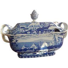 Antique Staffordshire Transferware Soup Tureen Rare