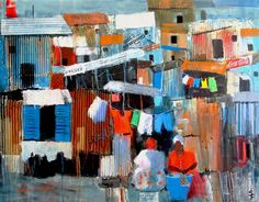 SORAYA FRENCH SWA :: SHANTY TOWN WOMEN Street Painting, Painting Collage, Collage Art, Painting & Drawing, Town Drawing, French Paintings, South African Art, Protest Art, Abstract City