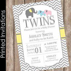 Printed Elephant Twins Baby Shower Invitation by ModernBeautiful
