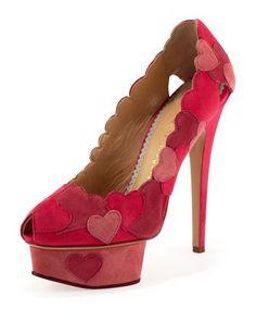 Charlotte Olympia Love Me Heart-Applique Pump, Fuchsia - Bergdorf Goodman Charlotte Olympia, Platform Pumps, High Heel Pumps, Pumps Heels, Hot Heels, Bergdorf Goodman, Pretty Shoes, Beautiful Shoes, Awesome Shoes