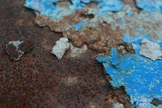 Blue Peeling Paint and Rust