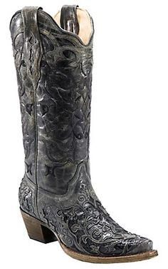 Corral® Ladies Black with Black Caiman Inlay Snip Toe Western Boots | Cavender's Boot City