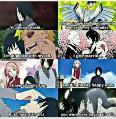 Sasuke wishes that Itachi would be with him, just like Naruto wishes Jiraiya saw him accomplishing his dreams