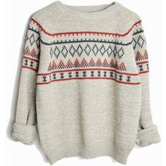 Vintage 70s Nordic Ski Sweater in Gray Taupe women's medium/large