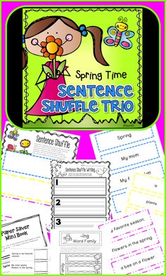Spring Reading: fluency, INB foldable, and guided reading mini book.  Color coded to scaffold young readers.  Practice making real and nonsense sentences.  paid