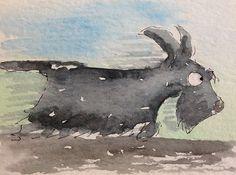 ACEO Original Watercolour Scottie Dog. | eBay