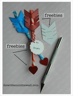 (Freebie) Valentine's Day Treat-Cupid's Arrow / Pixie Sticks-Easy to Make!