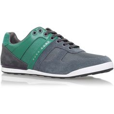 G Akeen Clean Snkr Hugo Boss Green ($195) ❤ liked on Polyvore featuring mens, men's shoes, men's sneakers and green