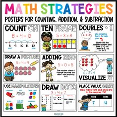 Allow your students to build confidence in using math strategies for counting, addition, and subtraction.  Use these strategies posters to teach your students each strategy, and then to post around the classroom as a reminder for students while they are working on math.  Great visuals to help them learn and use math strategies. Math Strategies Posters, Doubles Facts, Fact Families, Math Help, Phonics Activities, Place Value Chart, Repeated Addition, Teaching Math, Maths