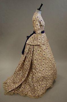 A purple and white taffeta gown, 1860s,