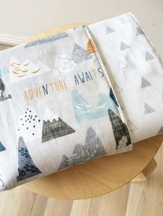 Modern Baby crib blanket. Reversible cot quilt. Adventure