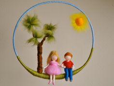 Children mobile Waldorf inspired needle felted nursery