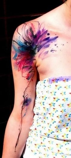 Flower Watercolor Tattoo on Shoulder.