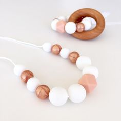 'Rose Gold + Peach' silicone necklace