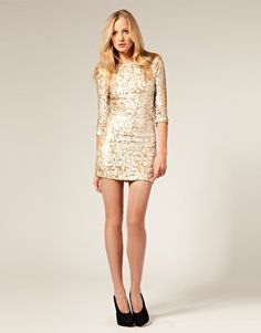 Image 4 ofFrench Connection All Over Sequin Body Con Dress