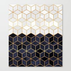 White & Navy Cubes Canvas Print