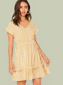 To find out about the Ruffle Trim Tie Side Striped Dress at SHEIN, part of our latest Dresses ready to shop online today! V Neck Dress, Dress P, Ruffle Dress, Striped Dress, Dress Outfits, Casual Dresses, Fashion Dresses, Night Suit For Women, Knot Dress
