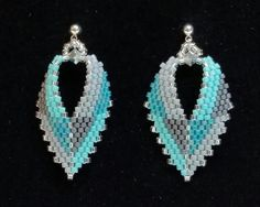 Russian Leaf Earrings, in teal & gray, from BeadAndBowtique on Etsy.