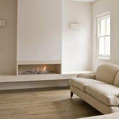 Bespoke Shelf Fire, with driftwood, from Platonic Fireplace Company