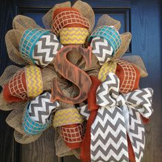 Turquoise/Yellow/Orange/Chevron Wreath by Tarandipity on Etsy, $75.00