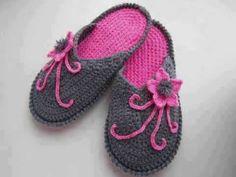 Crochet Knitting Home Slipper Models & Crochet - Гутал Crochet Shoes Pattern, Crochet Baby Shoes, Crochet Slippers, Grey Slippers, Crochet Woman, Knit Crochet, Baby Knitting Patterns, Crochet Patterns, Crochet Baby Jacket