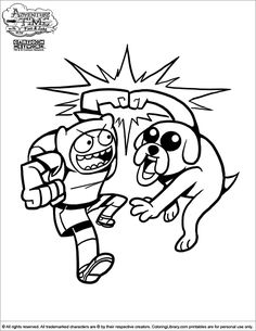 adventure time coloring page finn and jake fist bumping