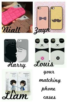 Your matching phone cases Cool Cases, Cool Phone Cases, Iphone Cases, 1d Preferences, One Direction Preferences, Matching Phone Cases, 1direction, Tattoo, Awesome