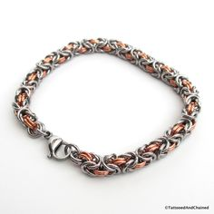 Chainmaille Byzantine bracelet, copper and steel jewelry