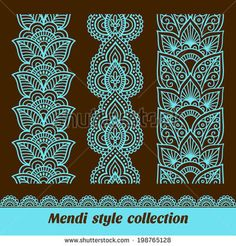 Ornamental seamless borders Vector set with abstract floral elements