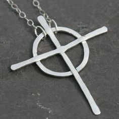 Celtic Cross Necklace Fine Silver Cross 18 by MaggieMcManeDesigns, $52.00