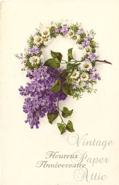 Daisy & Violet Wreath Antique French Postcard