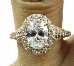 GIA 1.82ct Estate Vintage Oval Diamond Engagement Wedding Ring 18k Rose Gold on Etsy, $6,880.00