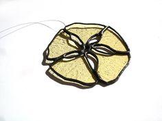 Sand dollar stained glass suncatcher yellow amber  beach ocean summer home decor