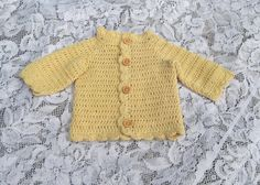Organic Baby Sweater in Crochet - Cardigan - Handmade by Amanda Jane in Ireland
