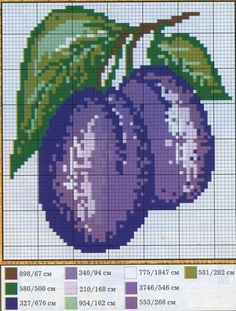 Fruit plums cross stitch.