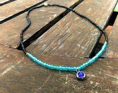 Aqua Blue Black Beaded Choker  Seed beads short by SeabeatJewelry