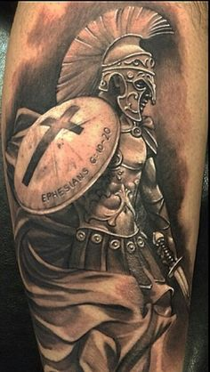 What does shield tattoo mean? We have shield tattoo ideas, designs, symbolism and we explain the meaning behind the tattoo. Warrior Tattoo Sleeve, Armor Of God Tattoo, Armour Tattoo, Shield Tattoo, Sword Tattoo, Warrior Tattoos, Viking Tattoos, God Tattoos, Body Art Tattoos